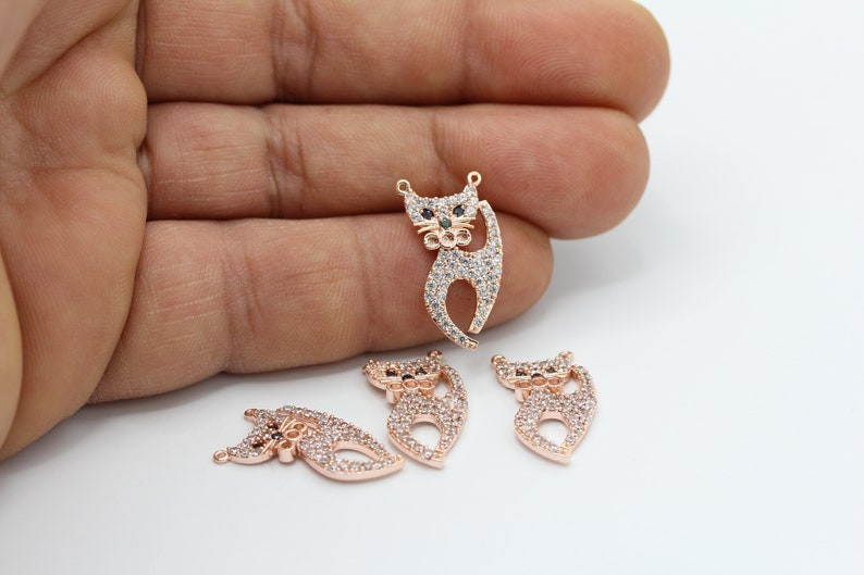 CZ Pave Cat Charms 11x22mm Rose Gold Plated CZ Micro Pave Cat Pendant CZ65 Cubic Zirconia Cat Charms