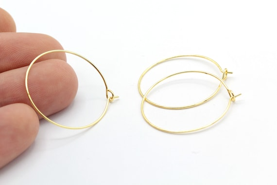 GLD416 Circle earrings 30mm Shiny Gold Plated Earring Hoops Ear Wires