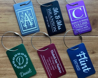 Personalized Aluminum Luggage Tags Monogram, Logo, Custom Favor Label, Travel, Sports, Bag, ID, Engraved, Special Order