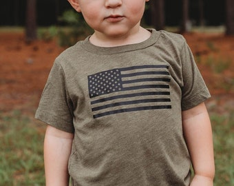 Veteran American Brazil Flag Kids Boys Girls Crewneck Short Sleeve Shirt T-Shirt for Toddlers