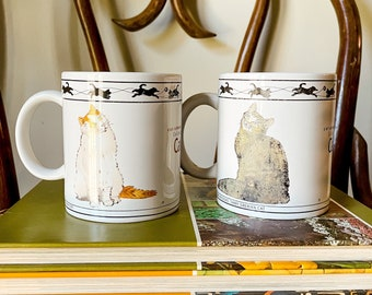 vintage cat collection mugs set, cat lover gift, cat lovers collectible