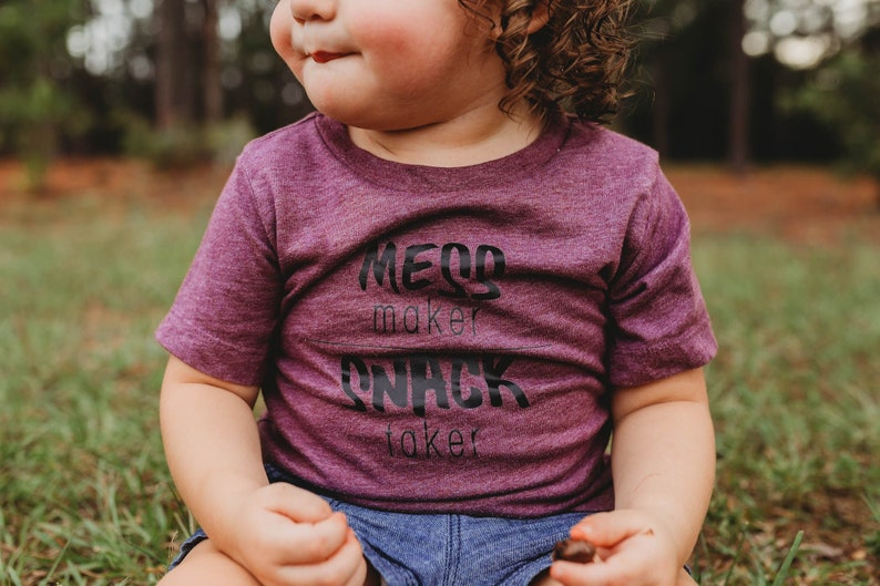 mess maker snack taker baby shirt graphic tee for kids image 0