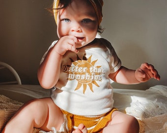Better Than Sunshine Baby Bodysuit - Toddler Graphic Tee - Retro Groovy Youth Shirt - Christmas Gift
