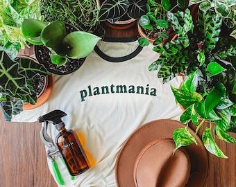 Plantmania Adult Unisex Tshirt - Plant Lover Ringer Shirt - Plant Daddy Graphic Tee - Plant Mom Gift