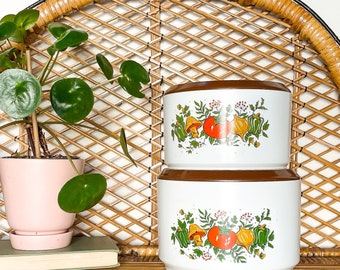 vintage sterilite canisters, 70s retro spice of life nesting containers, vintage kitchen decor