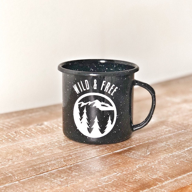 campfire mug camp mug BPA free wild and free enamel cup image 0