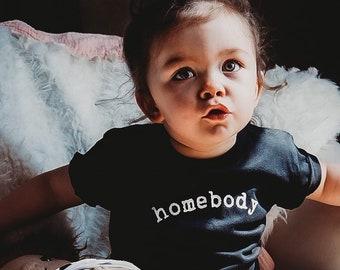 Homebody Unisex Tshirt - Stay Home Baby Shirt - Minimalist Youth Graphic Tee - Christmas Gift
