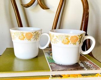 vintage noritake progression sunny side coffee mugs, retro flower cup set