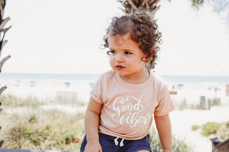 good vibes only baby shirt positive message kids tee mommy image 0