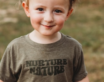 Nurture Nature Kids Unisex Tshirt - Nature Lover Baby Shirt - Outdoor Enthusiast Youth Graphic Tee - Christmas Gift