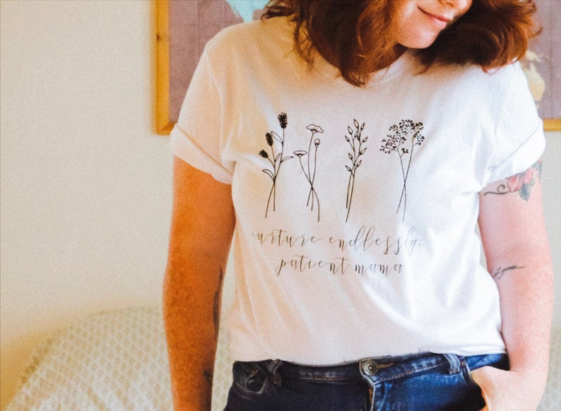 nurture endlessly patient mama boho floral tshirt mom and me image 0