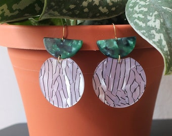 Green Semicircle Half Moon + Black and White Striped Round Acrylic Earrings   Statement Earrings