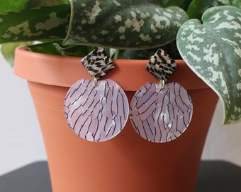 Black and White Striped Square + Round Acrylic Earrings   Statement Earrings
