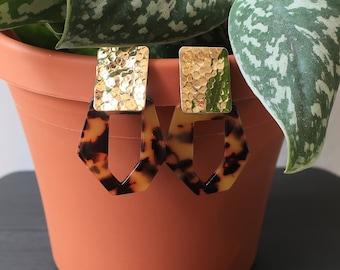 Hammered Gold Rectangle + Tortoise Shell Geometric Acrylic Earrings   Statement Earrings