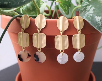 Hammered Gold Round and Rectangle Post + Acrylic Round Charm Earrings  Statement Earrings