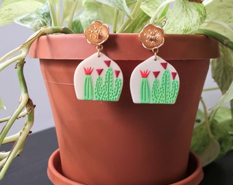 Gold Blossom Flower Post + Printed Cactus Acrylic Earrings   Statement Earrings