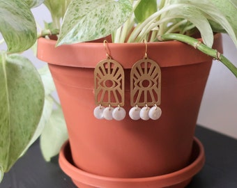 Brass Evil Eye + Pearl White Round Charms Earrings   Statement Earrings