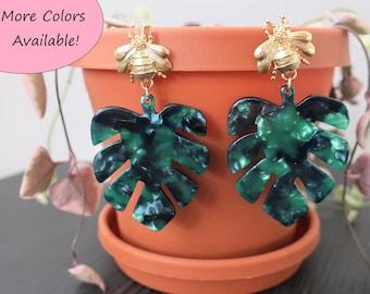 Gold Bumble Bee + Monstera Leaf Acrylic Earrings   Statement Earrings