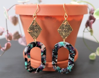 Hammered Gold Diamond + Black/Purple/Emerald Marbled Oval Acrylic Earrings   Dangle Earrings
