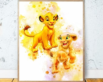ART PRINT the lion king simba illustration wall art gift decor home love disney