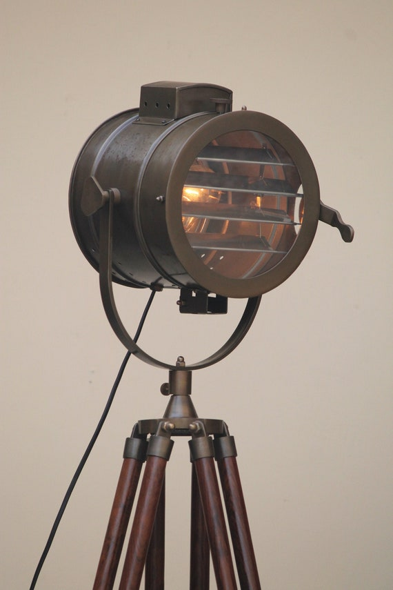 Studio Nautical Articulated Industrial Steampunk Tripod Floor Lamp /& Metal Light