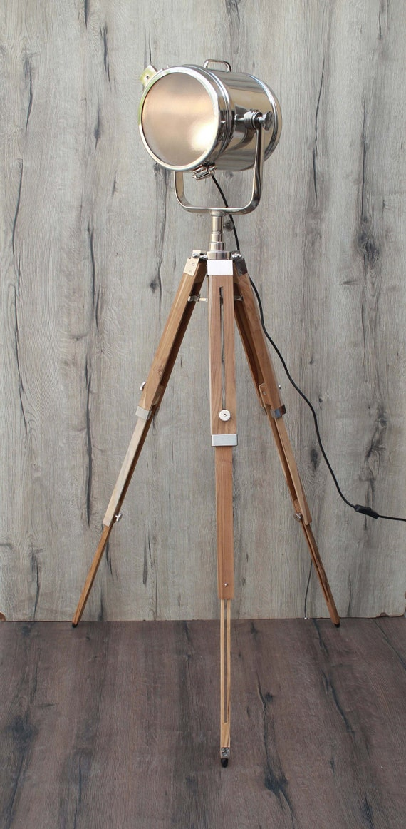 Floor Lamp Industrial Tripod Emporia Decors Studio Design Chrome Flaps