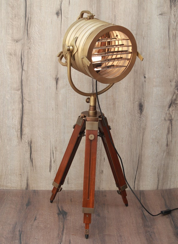 Wooden Brass Antique Tripod Floor Lamp For Home Amp Office Etsy