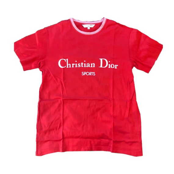 Christian Dior sports red oversized logo tee Sz M