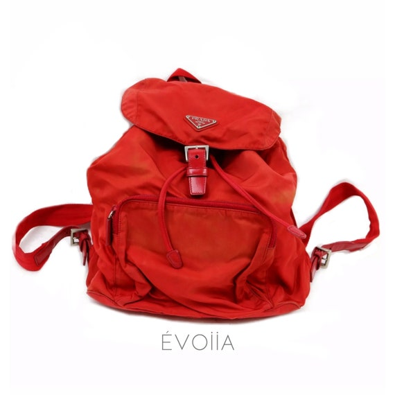 Prada red mini nylon backpack