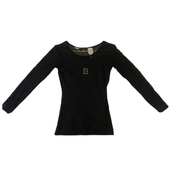Fendi monogram mesh long sleeve tee