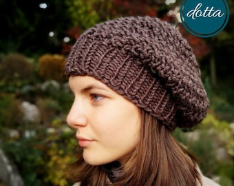 f15d13b23d5 jaspe brown TREASURE hat - chunky hand knit wool beanie - handmade slouchy  for Woman - gift for Her