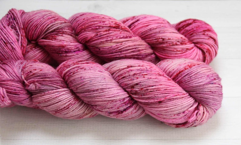 MCN Hand-dyed Yarn MerinoCashmere blend discounted Speckled Yarn pink yarn Rough Rubies