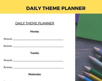 SHORT TERM GOAL Planner - Daily Theme Worksheet