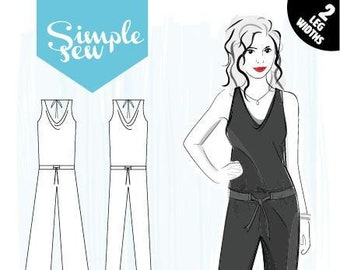 24c16a5e000 Simple Sew Patterns Cara Jumpsuit Ladies Sewing Pattern UK Size 8-20