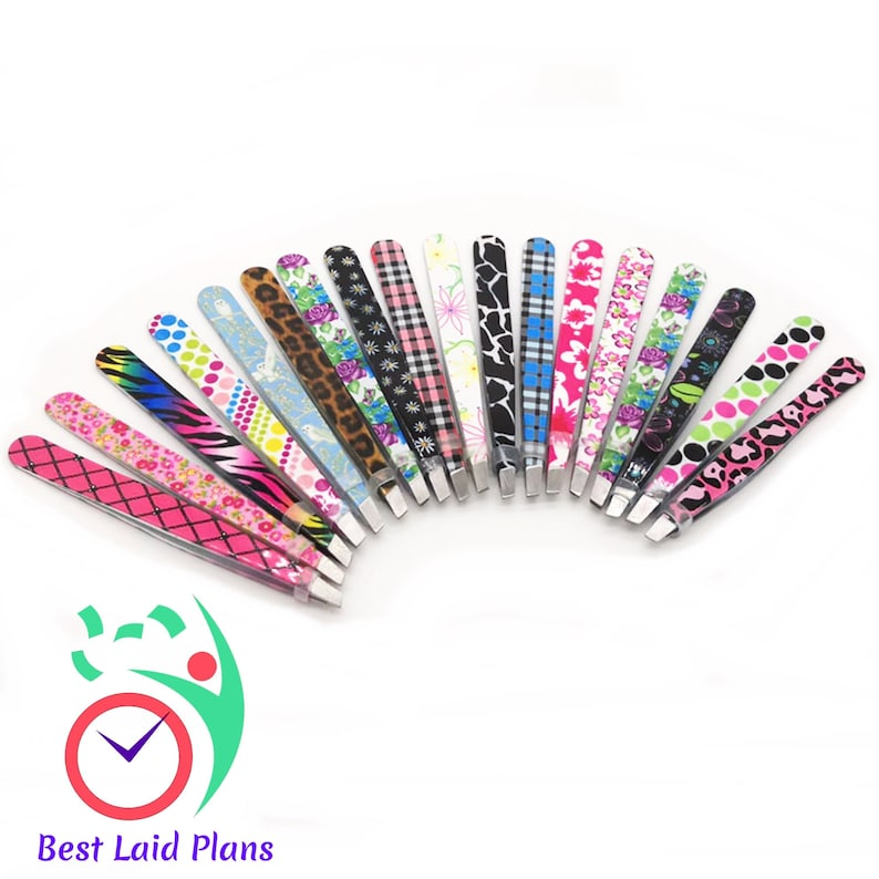 Planner Sticker Tweezers Enameled Floral Design Animal Print Eyebrow Tool
