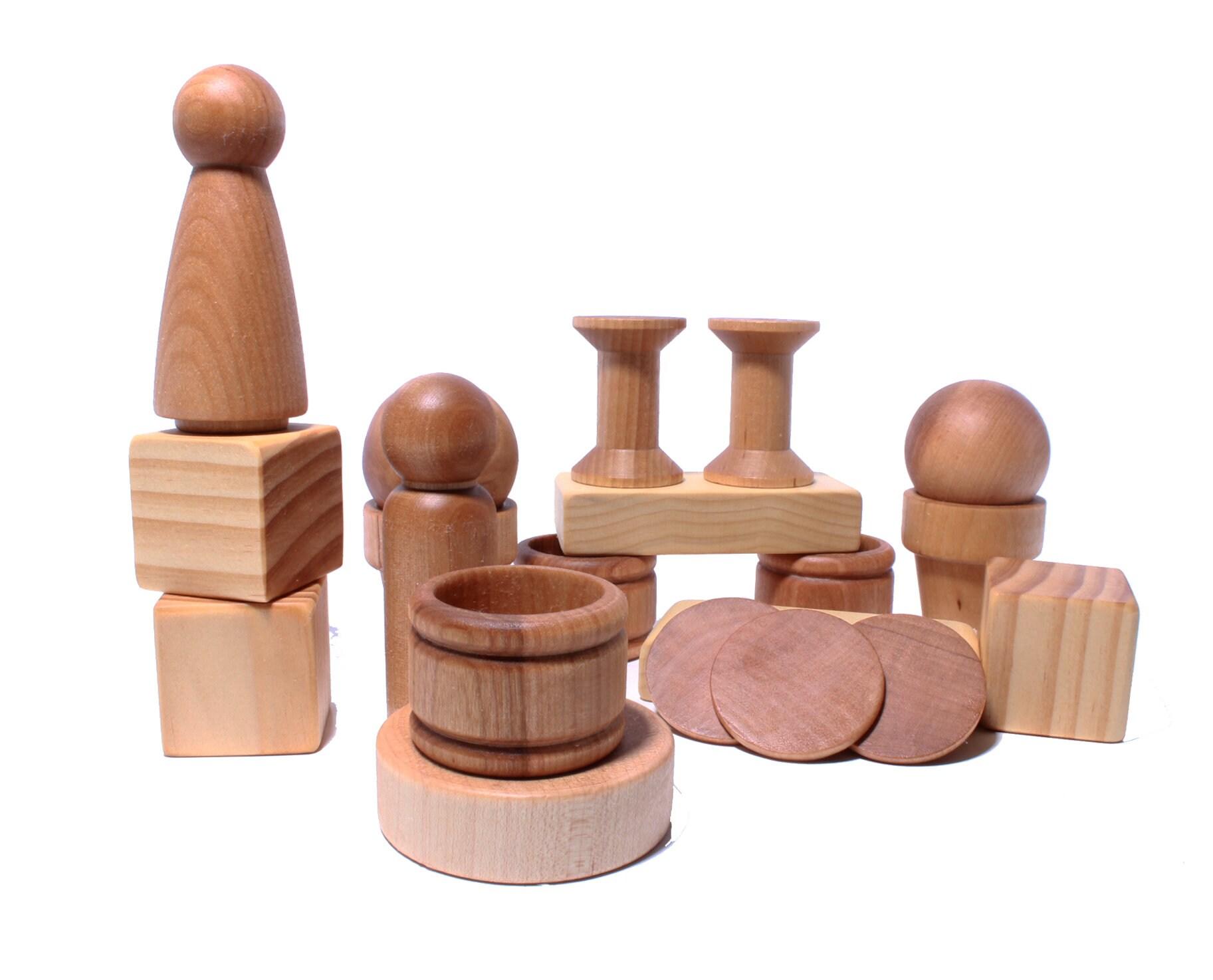 montessori loose parts baby toys - natural wooden toys - cubes, pegs,  rings, balls - waldorf natural baby toys - loose parts wooden elements