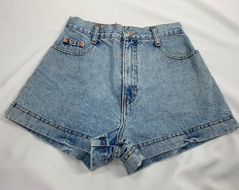 b624be5255 80s/90s Women's STEEL Jeans Light Wash High Waisted Denim Shorts, Acid Wash,  Mom Shorts, Mom Jeans, Size 5