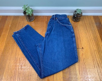 8bfd60a3 90s High Waisted Jeans, Dark Wash, Denim, Lee Riders, Pleated, Mom Jeans,  Festival, Vintage, Size 12 27 Waist