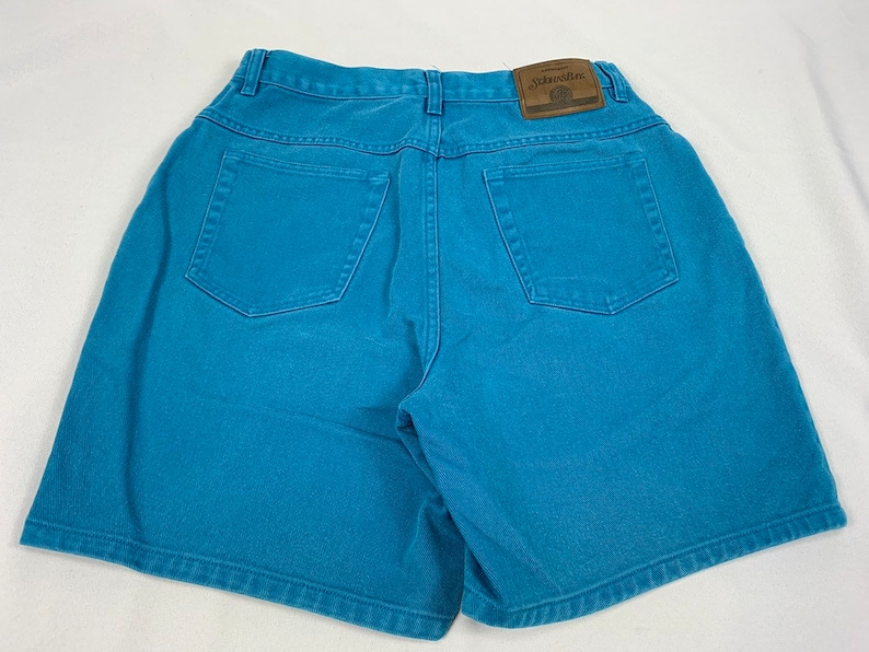Size 10 29 Waist Mom Shorts Vintage Colored Denim Turquoise Teal Aqua Mom Jeans 90s Women/'s High Waisted Shorts Festival High Rise