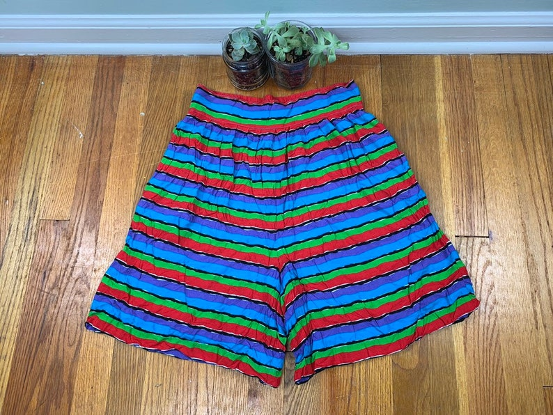 Mom Shorts Elastic Waist Striped Shorts Culottes High Waisted Shorts Vintage High Rise Size L Festival 90s Women/'s Paperbag Shorts