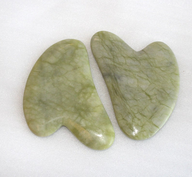 Natural green jade Gua Sha Board Pink Jade Stone  Body Facial Eye Scraping Plate  Acupuncture Massage Relaxation Health Care