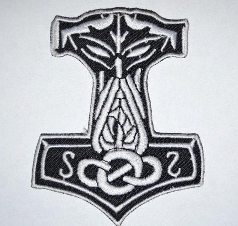 Mjolnir Viking Thor Hammer Loki Odin Skins Iron On Embroidered Patch UK SELLER