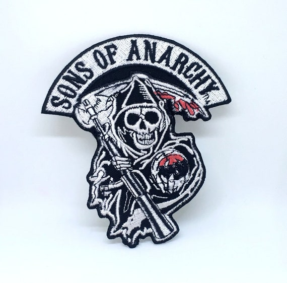 Skull Black Bikers Jacket Iron on Sew on Embroidered Patch