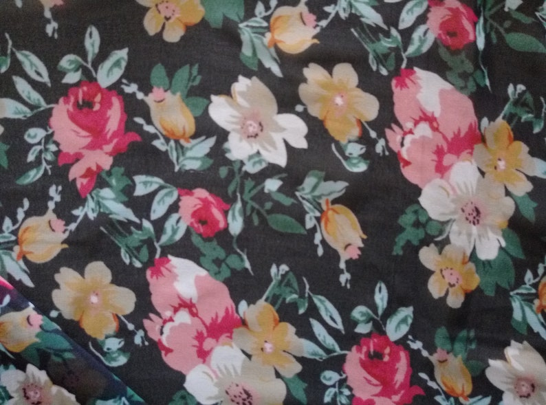 Poly Georgette Fabric Floral Print Multicolor 44 3 Yards Crafts Sewing