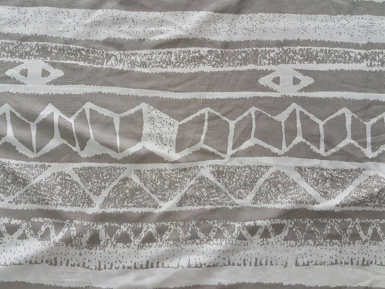 French Crepe Polyester Fabric Aztec Print Grey 3 Yards 44 Inches Width Clothing Crafts