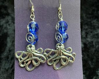 Handmade sterling silver octopus Swarovski earrings wire art jewelry artisan