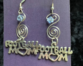 Handmade sterling silver Football Mom blue Swarovski earrings wire art jewelry artisan