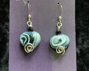Handmade sterling silver glass heart earrings wire art jewelry artisan