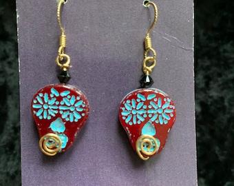 Handmade 14k gold-filled earrings sugar skull glass wire art jewelry artisan