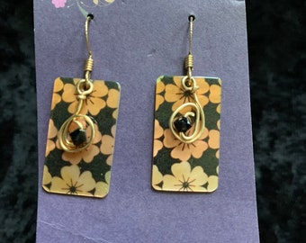 Handmade 14k gold-filled earrings floral shell heart wire art jewelry artisan